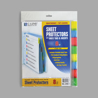 "C-Line 05580 11"" x 8 1/2"" Heavyweight Top-Loading Clear Polypropylene Sheet Protector with Assorted Color Index Tabs   - 8/Set"