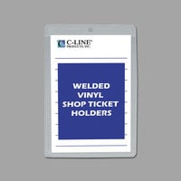 "C-Line 80058 5"" x 8"" Double Sided Clear Vinyl Shop Ticket Holder with 25 Sheet Capacity - 50/Box"