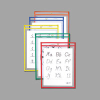 C-Line 40610 9 inch x 12 inch Assorted Primary Color Reusable Dry Erase Pocket - 10/Pack