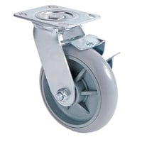 Lavex Lodging Swivel Plate Caster with Brake for Small Housekeeping Carts