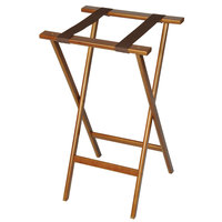 CSL 1270 30 inch Dark Walnut Economy Wood Tray Stand with Brown Straps - 4/Pack