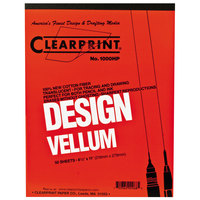 Clearprint 10001410 Design Vellum 8 1/2 inch x 11 inch 50-Sheet Sketch Paper Pad
