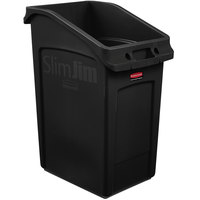 Rubbermaid 2026722 92 Qt. / 23 Gallon Slim Jim Under-Counter Black Rectangular Trash Can