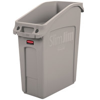 Rubbermaid 2026698 52 Qt. / 13 Gallon Slim Jim Under-Counter Beige Rectangular Trash Can