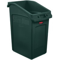 Rubbermaid 2026726 92 Qt. / 23 Gallon Slim Jim Under-Counter Green Rectangular Trash Can