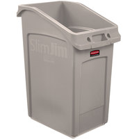 Rubbermaid 2026724 92 Qt. / 23 Gallon Slim Jim Under-Counter Beige Rectangular Trash Can