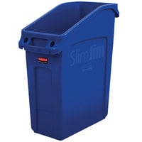 Rubbermaid 2026699 52 Qt. / 13 Gallon Slim Jim Under-Counter Blue Rectangular Trash Can