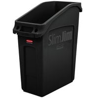 Rubbermaid 2026696 52 Qt. / 13 Gallon Slim Jim Under-Counter Black Rectangular Trash Can
