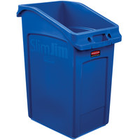 Rubbermaid 2026725 92 Qt. / 23 Gallon Slim Jim Under-Counter Blue Rectangular Trash Can