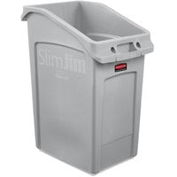 Rubbermaid 2026721 92 Qt. / 23 Gallon Slim Jim Under-Counter Gray Rectangular Trash Can