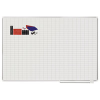 MasterVision CR1230830A 48 inch x 72 inch White Grid Planner Porcelain Dry Erase Planning Board with Accessories - 1 inch x 2 inch Grid