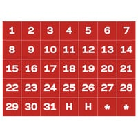 MasterVision BVCFM1209 Calendar Dates (1-31) Red / White Board Magnets