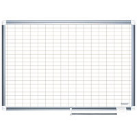 MasterVision BVCMA2792830A 48 inch x 72 inch White Grid Dry Erase Planning Board with Accessories - 1 inch x 2 inch Grid