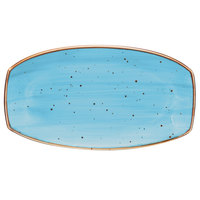 10 Strawberry Street SAN-13REC-TAOS Santa Fe 13 inch x 7 1/4 inch Taos Blue China Rectangle Plate - 12/Case