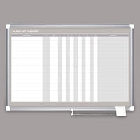 MasterVision GA01110830 36 inch x 24 inch Magnetic Lacquered Steel In / Out Dry Erase Board with Aluminum Frame and White Corners
