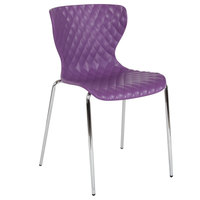 Flash Furniture LF-7-07C-PUR-GG Lowell Contemporary Purple Plastic Stackable Chair