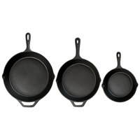 Choice 3-Piece Pre-Seasoned Cast Iron Skillet Set - Includes 8 inch, 10 1/4 inch, and 12 inch Skillets