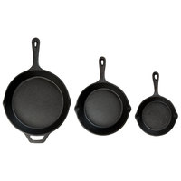 Choice 3-Piece Pre-Seasoned Cast Iron Skillet Set - Includes 6 1/2 inch, 8 inch, and 10 1/4 inch Skillets