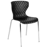 Flash Furniture LF-7-07C-BLK-GG Lowell Contemporary Black Plastic Stackable Chair