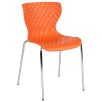 Flash Furniture LF-7-07C-ORNG-GG Lowell Contemporary Orange Plastic Stackable Chair