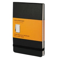 Moleskine QP511 3 1/2 inch x 5 1/2 inch Black Ruled Reporter Notebook - 192 Sheets