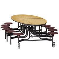 National Public Seating METS-MDPEPC 10' Elliptical Mobile MDF Cafeteria Table with Powder Coated Frame, ProtectEdge, and 12 Stools