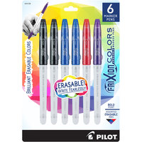 Pilot 44158 FriXion Colors Assorted Bold Ink with White Barrel 2.5mm Erasable Marker Pen - 6/Pack