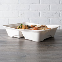 Eco Products EP-SCTR13102 Regalia 13 inch x 10 inch x 3 inch White 2-Compartment Compostable Sugarcane Half Pan Takeout Container - 200/Case