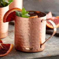 Acopa Alchemy 14 oz. Straight Sided Hammered Copper Moscow Mule Mug - 12/Pack