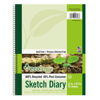 Pacon 4798 Ecology 11 inch x 8 1/2 inch White Unruled Wirebound Sketch Diary - 6/Pack
