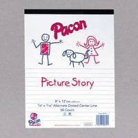 Pacon 2423 9 inch x 12 inch Multi-Program 16# White Ream of 1/2 Rule Handwriting Picture Story Paper - 500 Sheets