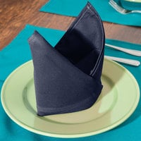 Intedge Navy Blue 65/35 Polycotton Blend Cloth Napkins, 20 inch x 20 inch - 12/Pack