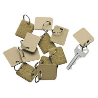 SecurIT 04985 1 1/8 inch x 1 inch Beige Blank Hook and Loop Security-Backed Key Tag - 12/Pack