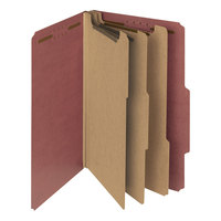 Smead 19099 Legal Size Red Pressboard 3 Divider Classification Folder - 10/Box
