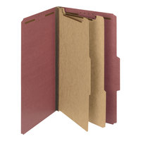 Smead 19023 Legal Size Red Pressboard 2 Divider Classification Folder - 10/Box