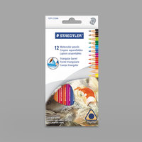 Staedtler 1271C12A6 12 Assorted Woodcase Barrel 2.9 mm Triangular Watercolor Pencil Set - 12/Set