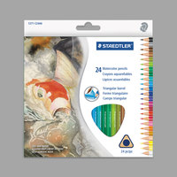 Staedtler 1271C24A6 24 Assorted Woodcase Barrel 2.9mm Triangular Watercolor Pencil Set - 24/Set