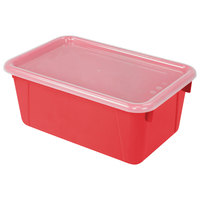 Storex 62407U06C 12 inch x 8 inch x 5 inch Red Cubby Bin with Lid - 6/Pack
