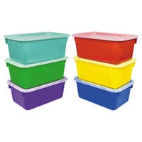 Storex 62406E06C 12 inch x 8 inch x 5 inch Assorted Color Cubby Bin with Lid   - 6/Pack