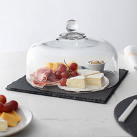 Acopa 12 inch Square Black Slate Tray with 11 1/4 inch Glass Dome and Soapstone Chalk