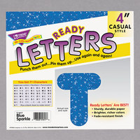 Trend T-1617 Ready Letters Blue Sparkle 4 inch Uppercase Letters and Numbers   - 71/Set