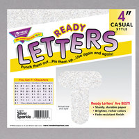 Trend T-1613 Ready Letters Silver Sparkle 4 inch Uppercase Letters and Numbers   - 71/Set