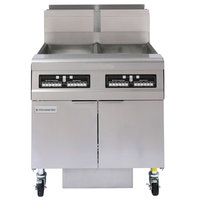 Frymaster FMJ250 50 lb. Natural Gas Two Unit Floor Fryer with Filtration System and Computer Magic III.5 Controls - 244,000 BTU