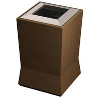 Commercial Zone 724565 ModTec 20 Gallon Old Bronze Square Waste Container with Stainless Steel Lid