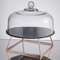 Acopa 12 inch Slate Rose Gold Wire Riser Cake Display Set with 4 inch Display Stand