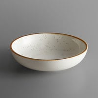 Acopa Keystone 8 inch Vanilla Bean Porcelain Coupe Low Bowl - 24/Case