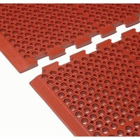 Cactus Mat 4420-RCWB VIP Duralok 3' 2 inch x 5' 1 inch Red Center Interlocking Grease-Resistant Anti-Fatigue Anti-Slip Floor Mat with Beveled Edge - 3/4 inch Thick