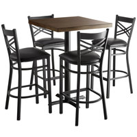 Lancaster Table & Seating 30 inch Square Recycled Wood Butcher Block Bar Height Table with 4 Black Cross Back Chairs - Espresso