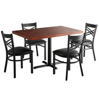 Lancaster Table & Seating 30 inch x 48 inch Recycled Wood Butcher Block Dining Height Table with 4 Black Cross Back Chairs - Mahogany