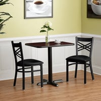 Lancaster Table & Seating 24 inch x 30 inch Reversible Cherry / Black Standard Height Dining Set with (2) Crossback Chairs
